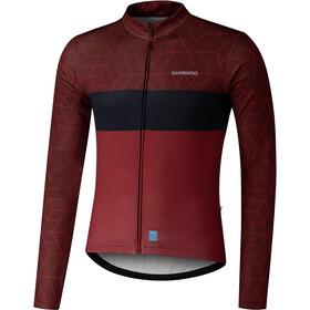 Shimano Vertex Printed Maglia jersey a maniche lunghe Uomo, rosso